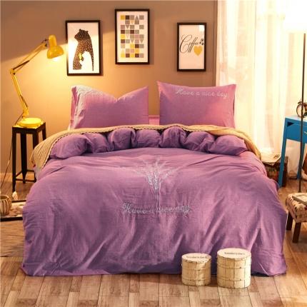 摩妮卡 水洗棉刺绣四件套紫韵年华