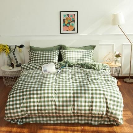 摩妮卡日式无印良品条纹格子加厚保暖水晶绒床单四件套中格子绿色