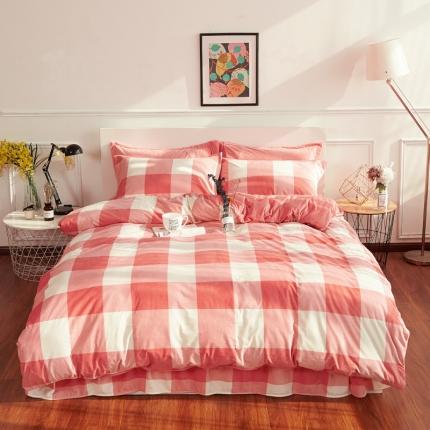 摩妮卡日式无印良品条纹格子加厚保暖水晶绒床单四件套大格子粉色