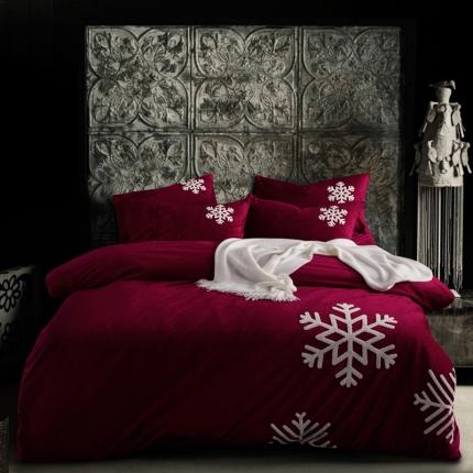 摩妮卡 欧式毛巾绣刺绣水晶绒宝宝绒四件套床单款 雪纷飞-酒红