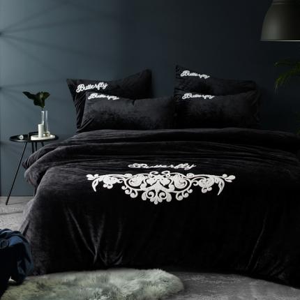 摩妮卡 欧式毛巾绣刺绣水晶绒宝宝绒四件套床单款 莺歌蝶舞-黑