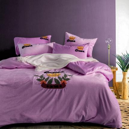 摩妮卡欧式毛巾绣刺绣水晶绒宝宝绒四件套床单款 美仑美奂-浅紫