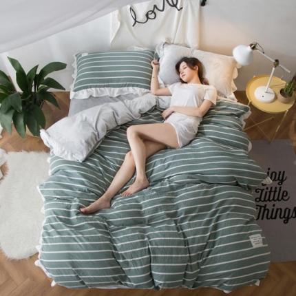 摩妮卡 2017韩版水洗棉法兰绒四件套 宽条纹-绿色