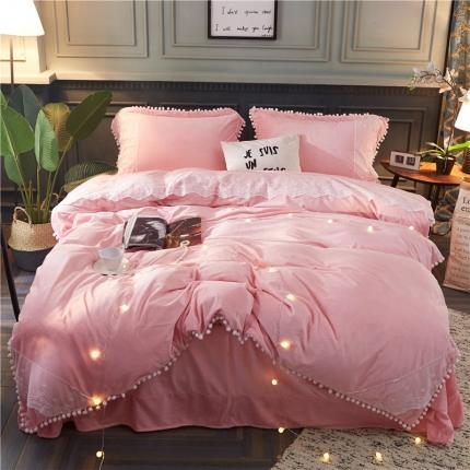 摩妮卡 小清新蕾丝球球水晶绒四件套 粉色