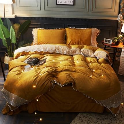 摩妮卡 小清新蕾丝球球水晶绒四件套 黄色