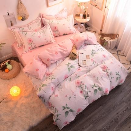 棉语家纺 全棉生态磨毛四件套床单款 花舞