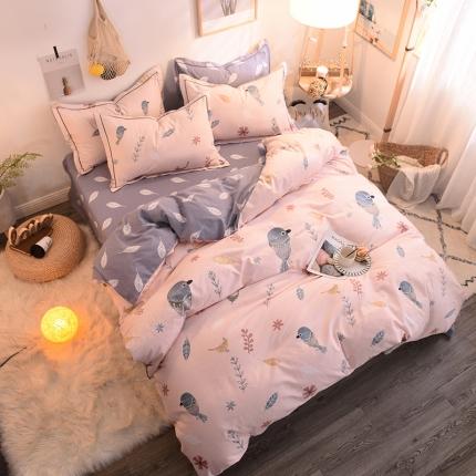 棉语家纺 全棉生态磨毛四件套床单款 鸟语花香