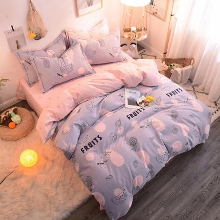 棉语家纺 全棉生态磨毛四件套床单款 水果狂欢