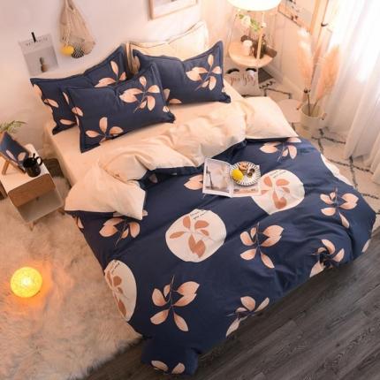 棉语家纺 全棉生态磨毛四件套床单款 叶落情深