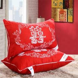 她喜爱枕业 全棉贡缎婚庆 大红囍字枕