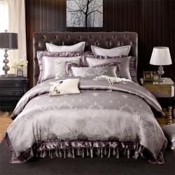 丽涵家纺 欧式刺绣花夹棉床笠式床罩床裙四件套  布鲁斯