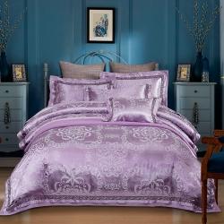 丽涵家纺 欧式双层宽边提花四件套 简约美韵-紫灰