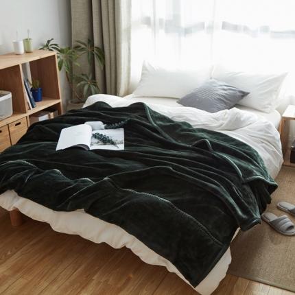 寐眠 无印法莱绒厚毛毯深绿色