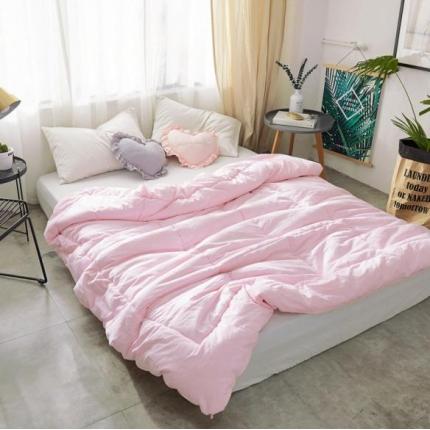 寐眠 全棉纯色冬被 纯色粉