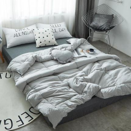 寐眠 全棉纯色冬被 纯色灰