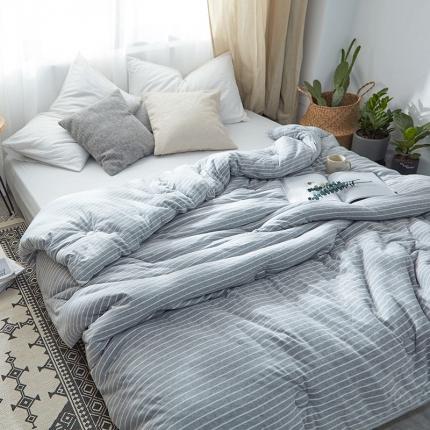 寐眠家纺 简约针织冬被 麻灰细条