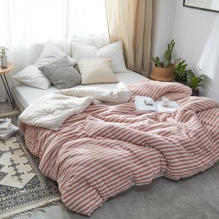 寐眠家纺 简约针织冬被 棕红中条