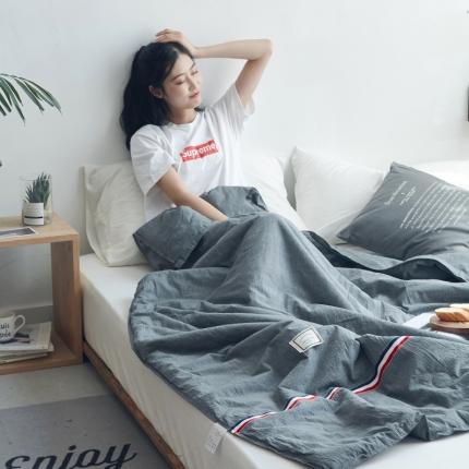 寐眠家纺 2018新款水洗棉织带款夏被 深灰色