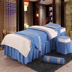 旺妙家纺 新款美容床罩比翼双飞四件套 比翼双飞-蓝