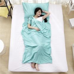 萌小叔家纺 宾馆酒店 隔脏旅行睡袋纯色全棉13372 水蓝