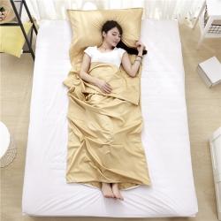 萌小叔家纺 宾馆酒店 隔脏旅行睡袋纯色全棉13372 驼色
