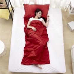 萌小叔家纺 宾馆酒店 隔脏旅行睡袋纯色全棉13372 紫红