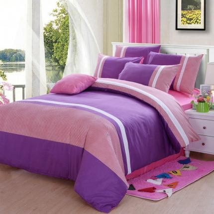 浩情国际 13372运动风多拼色四件套 紫韵风情
