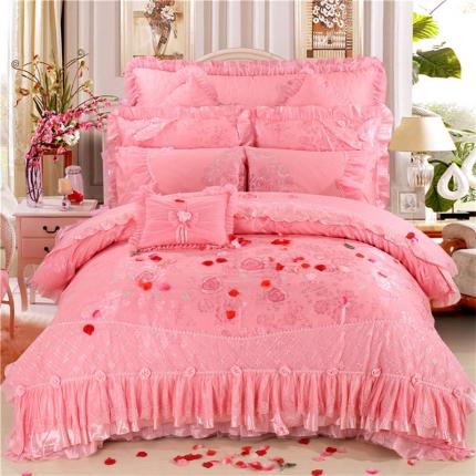 浩情国际 新款韩版蕾丝婚庆多件套 久久玫瑰-粉色