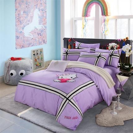 浩情国际 80s埃及长绒棉系列四件套 你好KT-紫