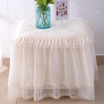浩情国际 韩版蕾丝床头柜子罩系列米色一只