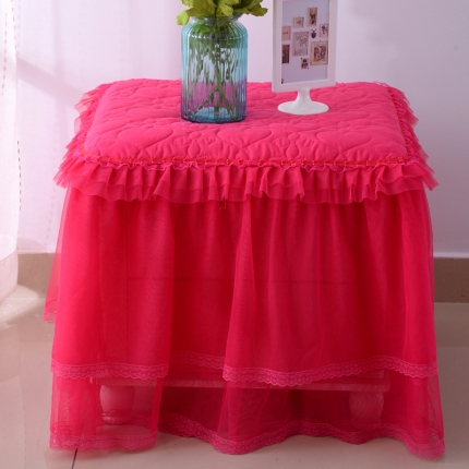 浩情国际 韩版蕾丝床头柜子罩系列玫红色一只