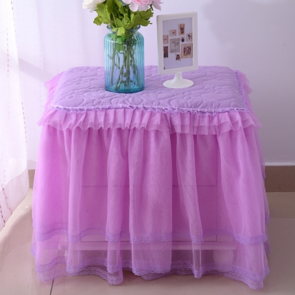 浩情国际 韩版蕾丝床头柜子罩系列紫色一只