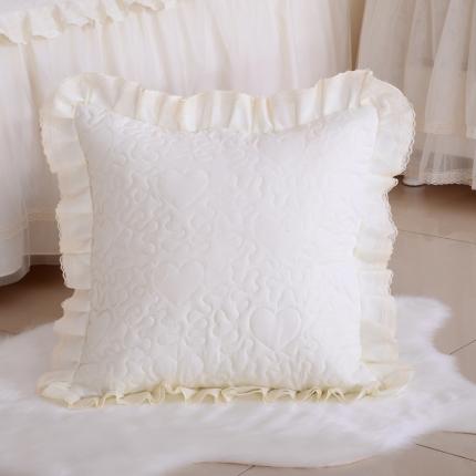 浩情国际 韩版蕾丝公主风系列方垫套一对 米黄