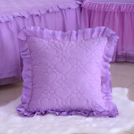 浩情国际 韩版蕾丝公主风系列方垫套一对 浅紫