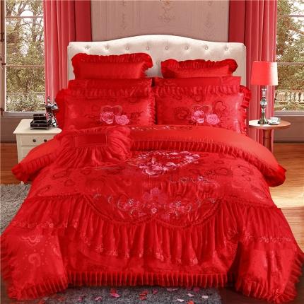 浩情国际 全棉60贡缎提花蕾丝13374美丽之约-大红