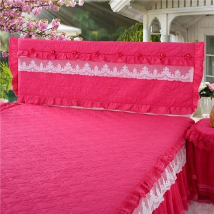 浩情国际 8月4号升级版玫瑰款床头罩系列 玫红