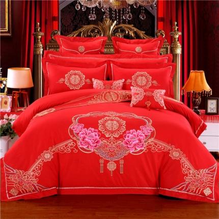 浩情国际 新款婚庆16款全棉婚庆高端彩绣工艺 喜欢上你