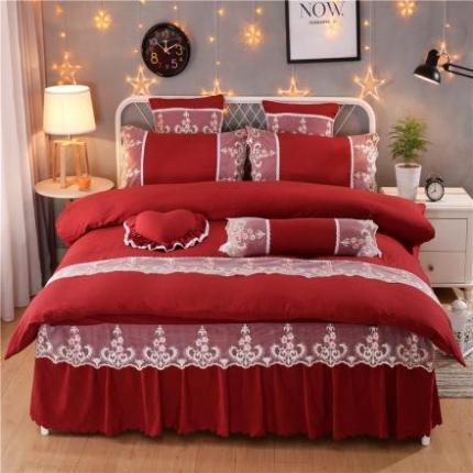 浩情国际韩版床裙四件套水洗棉四件套公主网红四件套叶语情怀豆沙