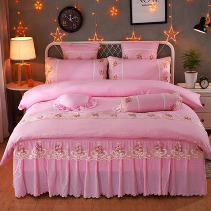 浩情国际韩版床裙四件套水洗棉四件套公主网红四件套叶语情怀-粉