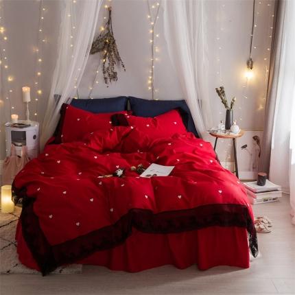 杰米家居 全工艺喷气13374全棉床裙四件套灰姑娘系列 红