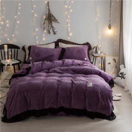 杰米家居 微芙绒女神四件套 紫色