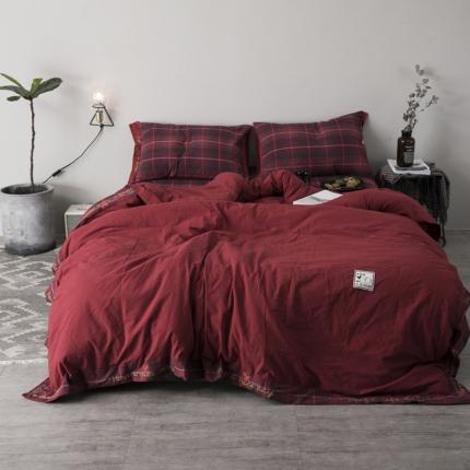 (总)杰米家居 32支全棉色织水洗棉余生系列四件套床笠款
