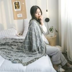 (总)吾诺 2019竹纤维流苏盖毯 全棉针织夏被提花毯子