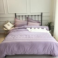 简优家居 高品质全棉色织水洗棉刺绣四件套紫色