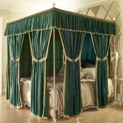 9西家纺 2018新款整套铝合金木纹支架+方顶床幔方顶-墨绿