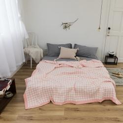 夏依家纺 三层纱多功能夏被盖毯 简然-粉