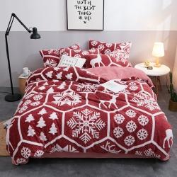 梦精灵新款水晶绒四件套保暖套件提花舒棉绒四件套床单雪花麋鹿