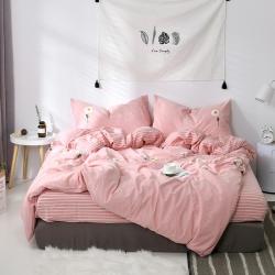 (总)漫时光家居 全棉水洗棉毛巾绣系列四件套床单款