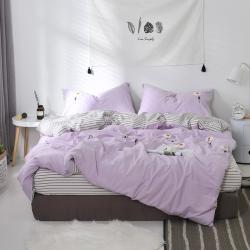 漫时光家居 全棉水洗棉毛巾绣系列四件套床单款太阳花-浅紫