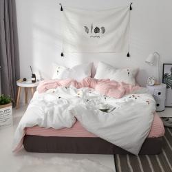 漫时光家居 全棉水洗棉毛巾绣系列四件套床单款太阳花-米白